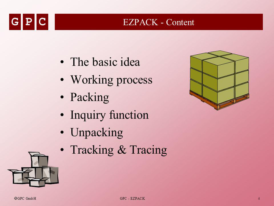 GPC GPC GmbH GPC - EZPACK4 EZPACK - Content The basic idea Working process Packing Inquiry function Unpacking Tracking & Tracing