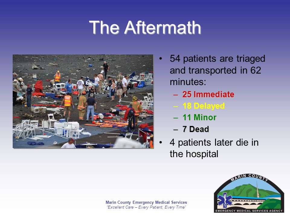 Marin County Emergency Medical Services Excellent Care – Every Patient, Every Time The Aftermath 54 patients are triaged and transported in 62 minutes: –25 Immediate –18 Delayed –11 Minor –7 Dead 4 patients later die in the hospital