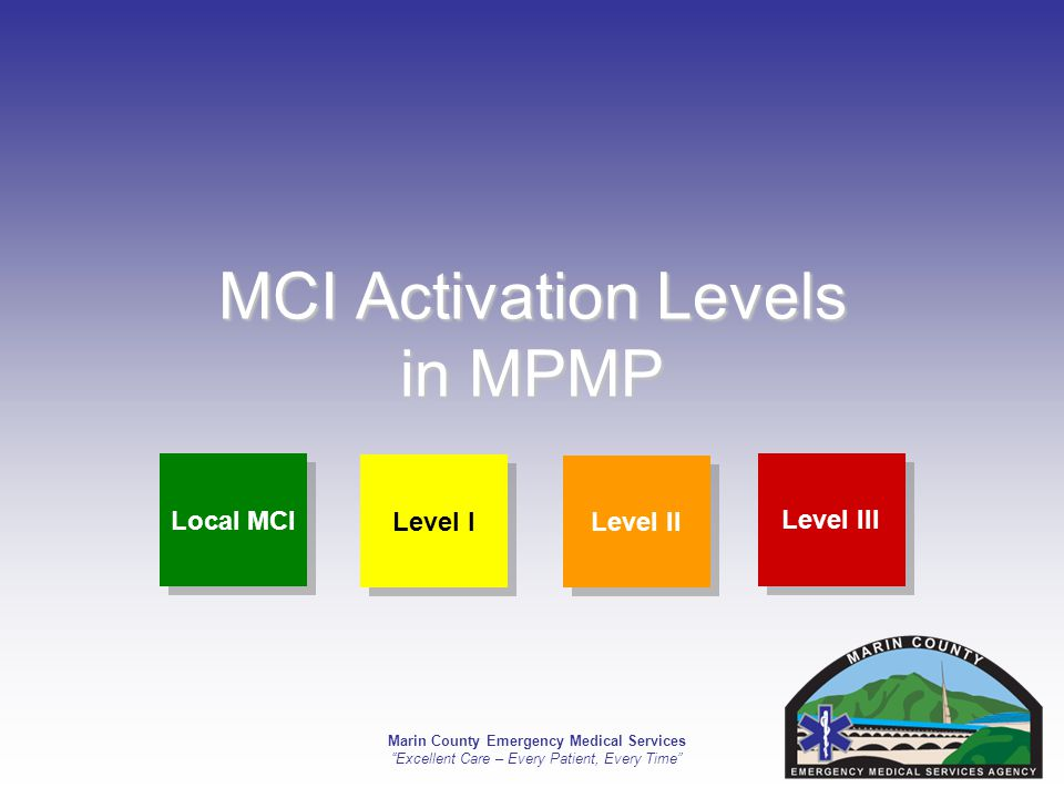 Marin County Emergency Medical Services Excellent Care – Every Patient, Every Time MCI Activation Levels in MPMP Local MCI Level III Level II Level I