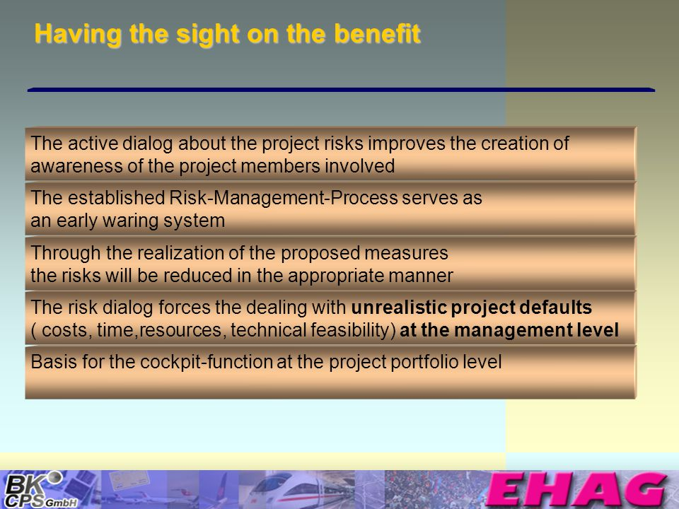 © Copyright BK-CPS 2002 EHAG Having the sight on the benefit The active dialog about the project risks improves the creation of awareness of the proje