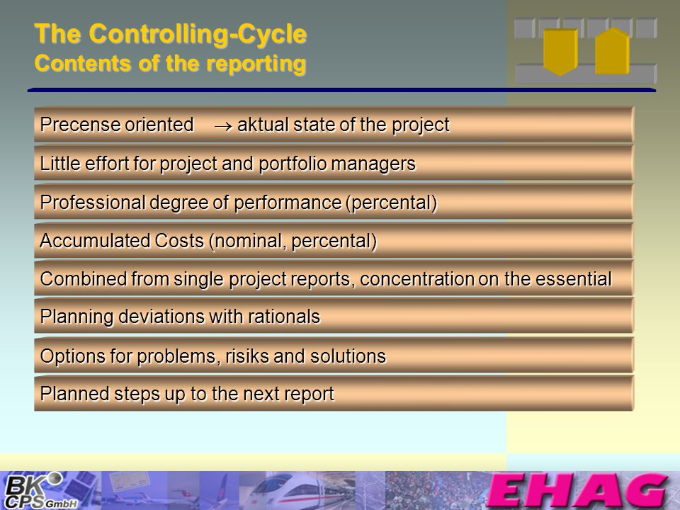 © Copyright BK-CPS 2002 EHAG The Controlling-Cycle Contents of the reporting Precense oriented aktual state of the project Little effort for project and portfolio managers Professional degree of performance (percental) Accumulated Costs (nominal, percental) Combined from single project reports, concentration on the essential Planning deviations with rationals Options for problems, risiks and solutions Planned steps up to the next report