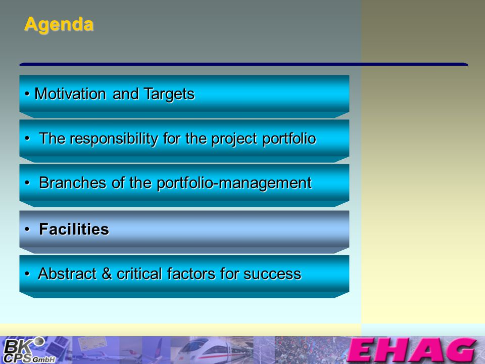© Copyright BK-CPS 2002 EHAG Agenda The responsibility for the project portfolio The responsibility for the project portfolio Branches of the portfolio-management Branches of the portfolio-management Facilities Facilities Abstract & critical factors for success Abstract & critical factors for success Motivation and Targets Motivation and Targets