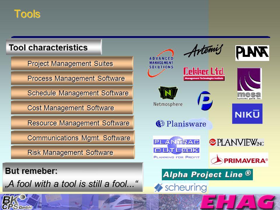 © Copyright BK-CPS 2002 EHAG Tools Tool characteristics Project Management Suites Process Management Software Schedule Management Software Cost Manage