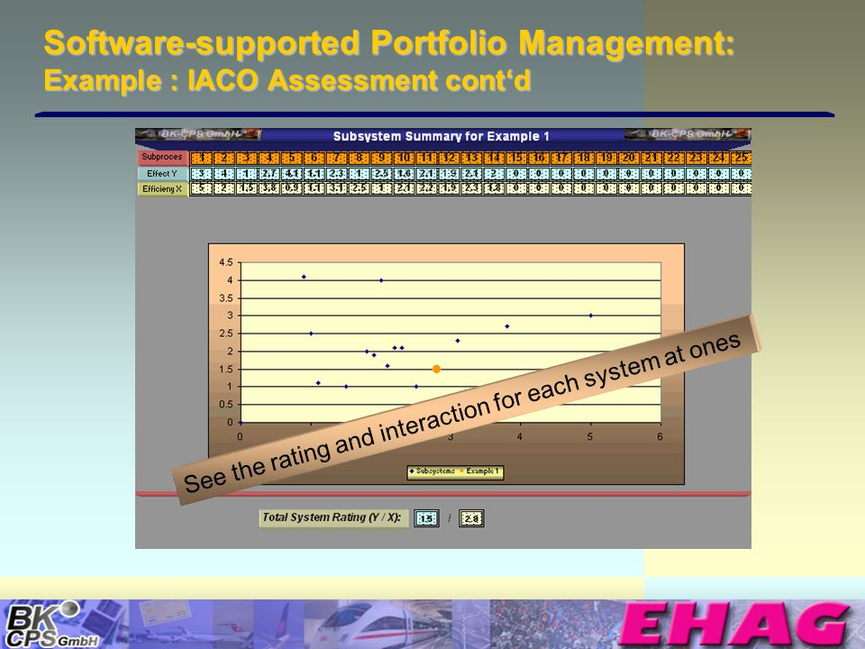 © Copyright BK-CPS 2002 EHAG Software-supported Portfolio Management: Example : IACO Assessment contd See the rating and interaction for each system at ones