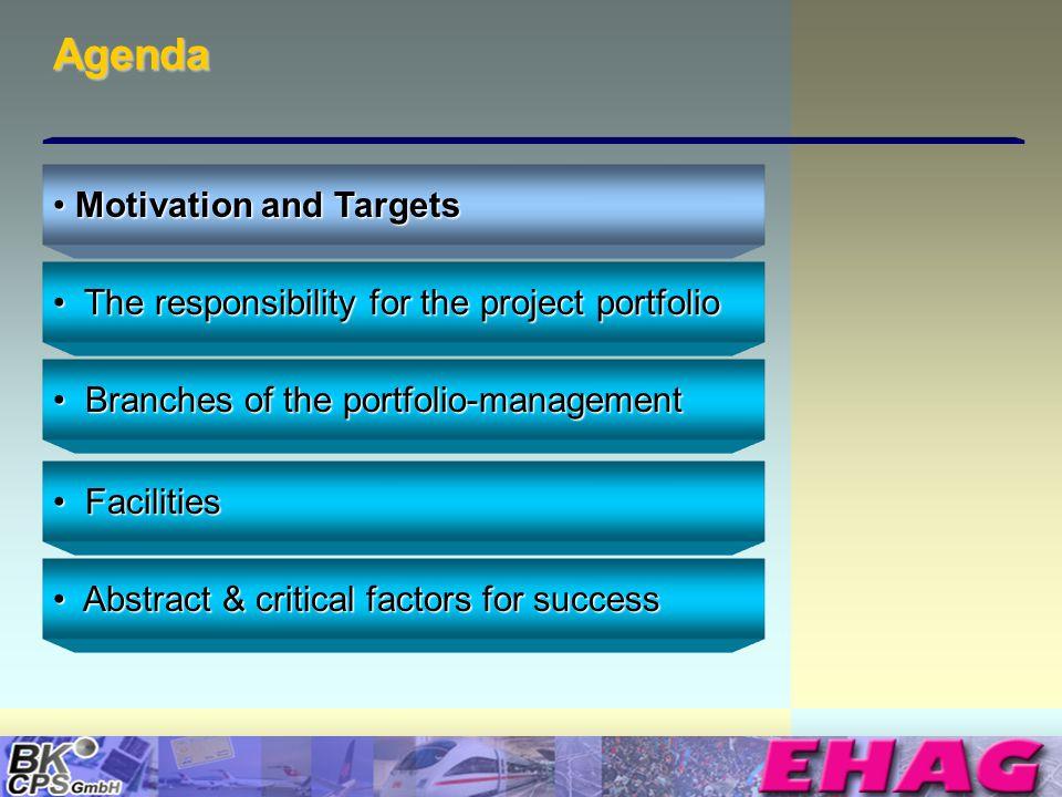 © Copyright BK-CPS 2002 EHAG Agenda The responsibility for the project portfolio The responsibility for the project portfolio Branches of the portfoli