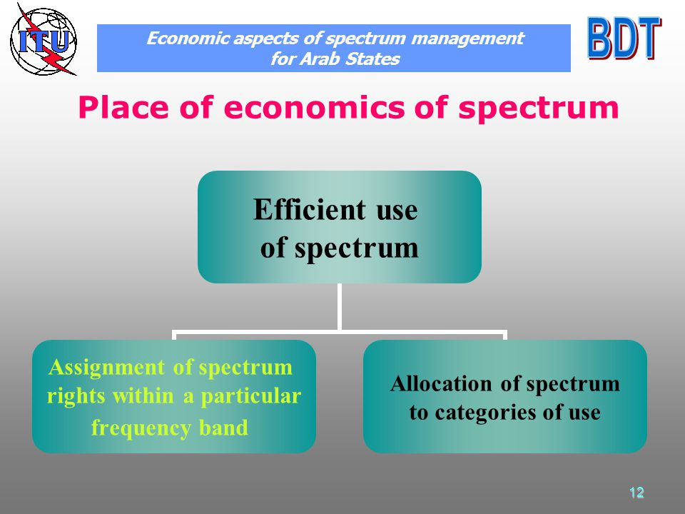 12 Place of economics of spectrum Efficient use of spectrum Assignment of spectrum rights within a particular frequency band Allocation of spectrum to categories of use Economic aspects of spectrum management for Arab States