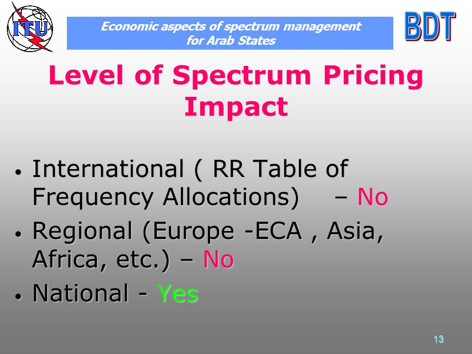 13 Level of Spectrum Pricing Impact International ( RR Table of Frequency Allocations) – No International ( RR Table of Frequency Allocations) – No Re
