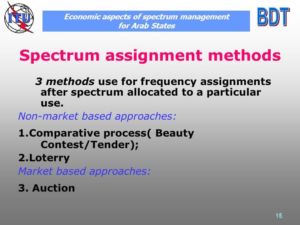 15 Spectrum assignment methods 3 methods use for frequency assignments after spectrum allocated to a particular use.