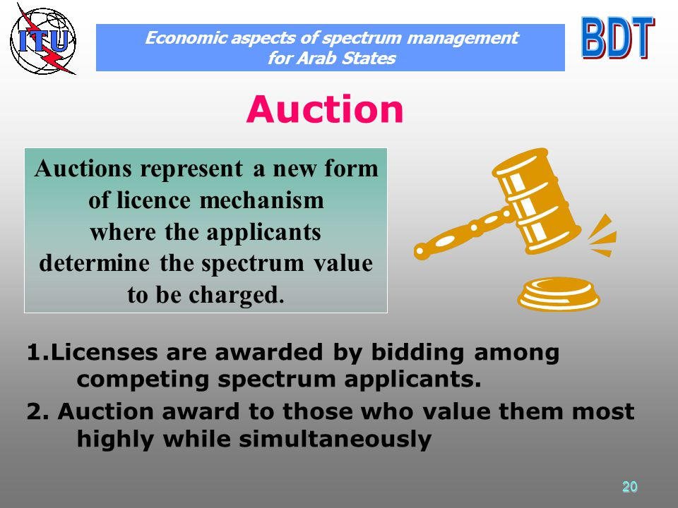 20 Auction 1.Licenses are awarded by bidding among competing spectrum applicants.