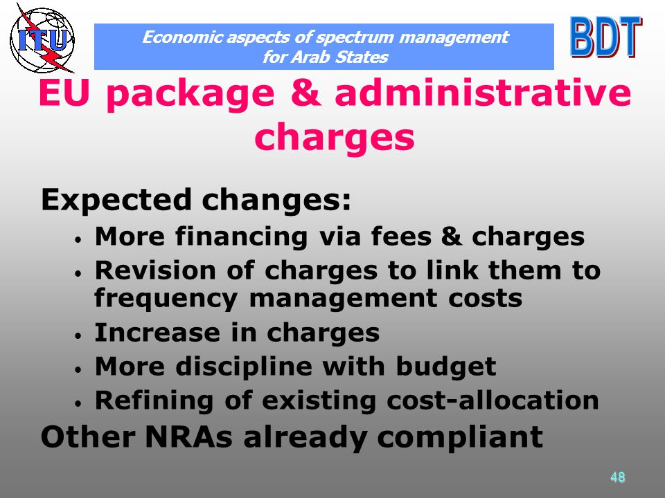 48 EU package & administrative charges Expected changes: More financing via fees & charges Revision of charges to link them to frequency management co