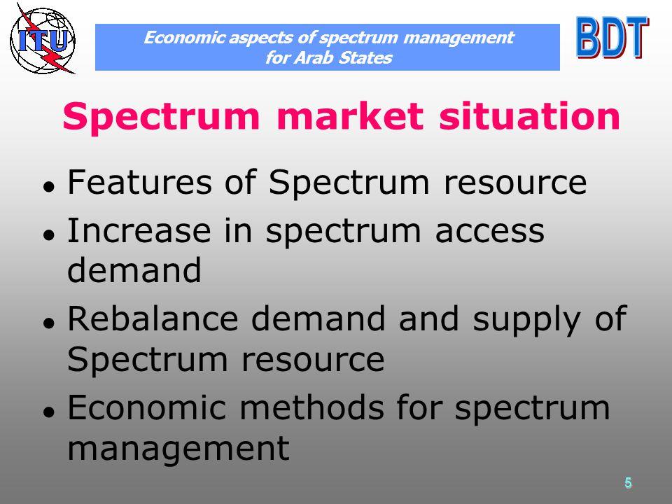 5 Spectrum market situation Features of Spectrum resource Increase in spectrum access demand Rebalance demand and supply of Spectrum resource Economic methods for spectrum management Economic aspects of spectrum management for Arab States