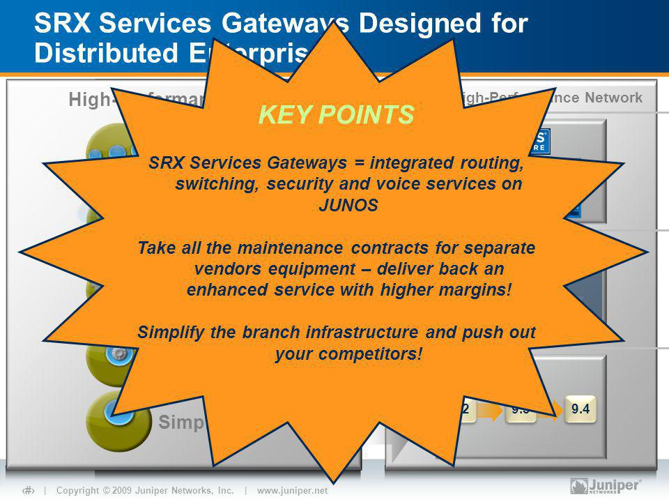 | Copyright © 2009 Juniper Networks, Inc. | www.juniper.net 3 SRX Services Gateways Designed for Distributed Enterprises Juniper High-Performance Netw