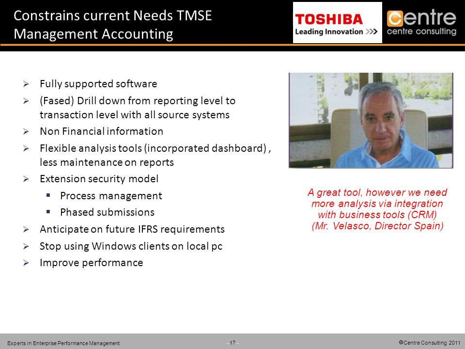 Centre Consulting 2011 - 17 - Experts in Enterprise Performance Management Constrains current Needs TMSE Management Accounting Fully supported software (Fased) Drill down from reporting level to transaction level with all source systems Non Financial information Flexible analysis tools (incorporated dashboard), less maintenance on reports Extension security model Process management Phased submissions Anticipate on future IFRS requirements Stop using Windows clients on local pc Improve performance A great tool, however we need more analysis via integration with business tools (CRM) (Mr.