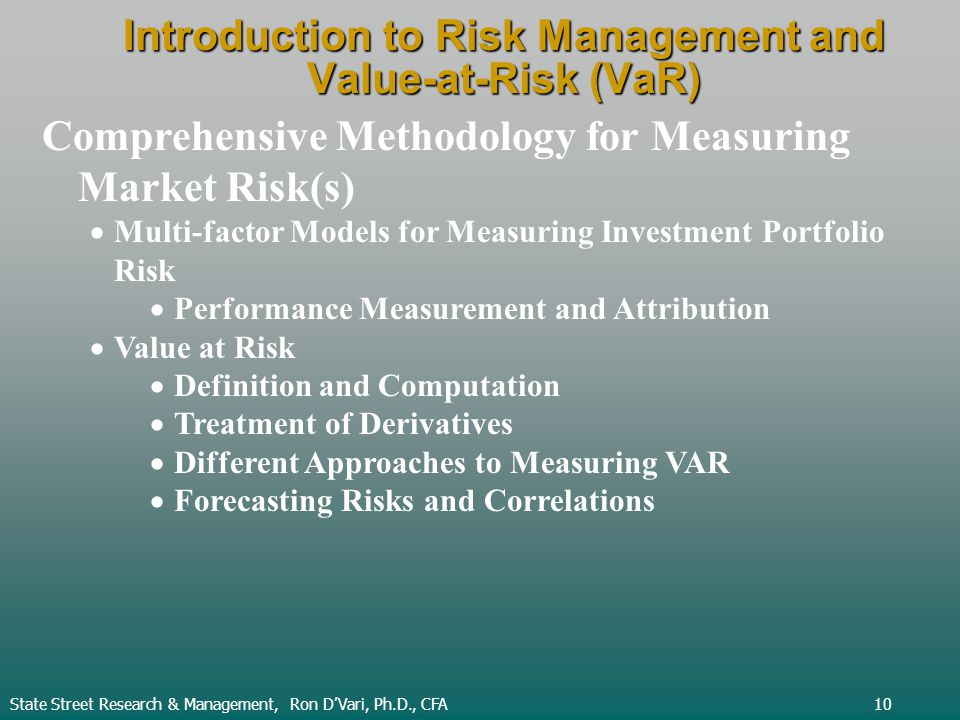 Introduction to Risk Management and Value-at-Risk (VaR) State Street Research & Management, Ron DVari, Ph.D., CFA10 Comprehensive Methodology for Measuring Market Risk(s) Multi-factor Models for Measuring Investment Portfolio Risk Performance Measurement and Attribution Value at Risk Definition and Computation Treatment of Derivatives Different Approaches to Measuring VAR Forecasting Risks and Correlations