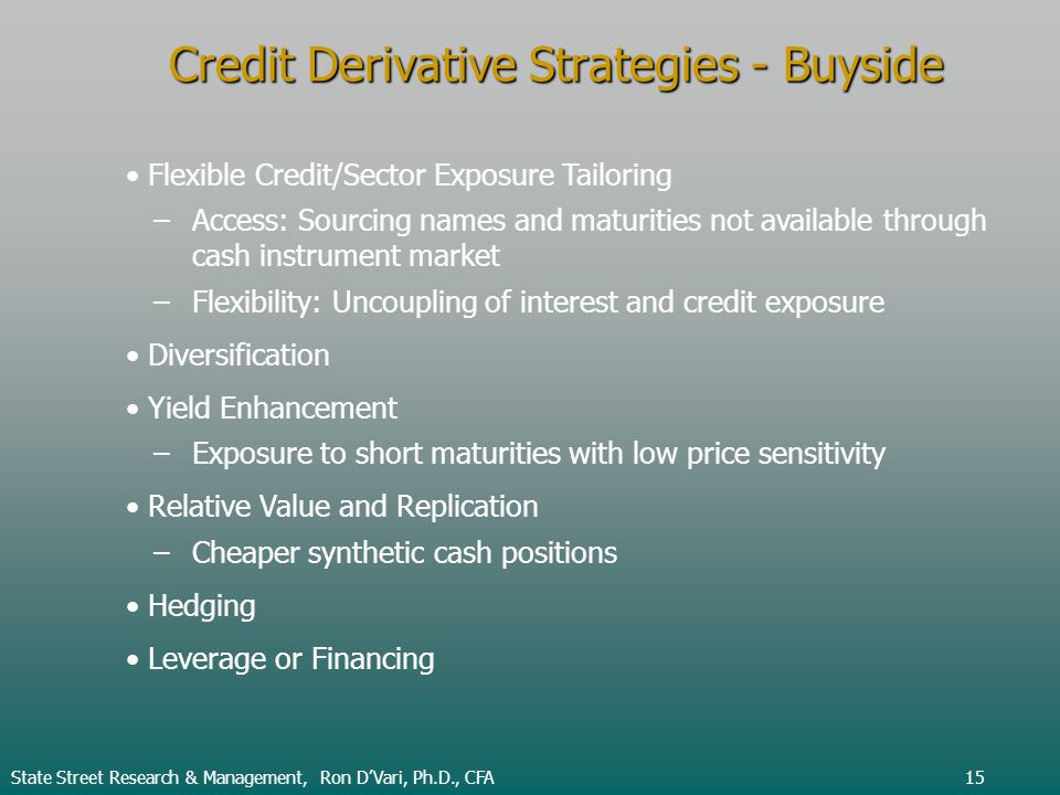 State Street Research & Management, Ron DVari, Ph.D., CFA15 Credit Derivative Strategies - Buyside Flexible Credit/Sector Exposure Tailoring –Access: Sourcing names and maturities not available through cash instrument market –Flexibility: Uncoupling of interest and credit exposure Diversification Yield Enhancement –Exposure to short maturities with low price sensitivity Relative Value and Replication –Cheaper synthetic cash positions Hedging Leverage or Financing