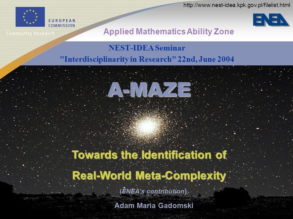 A-MAZE NEST-IDEA Seminar Interdisciplinarity in Research 22nd, June 2004 Applied Mathematics Ability Zone Adam Maria Gadomski (ENEAs contribution ) Towards the Identification of Real-World Meta-Complexity http://www.nest-idea.kpk.gov.pl/filelist.html