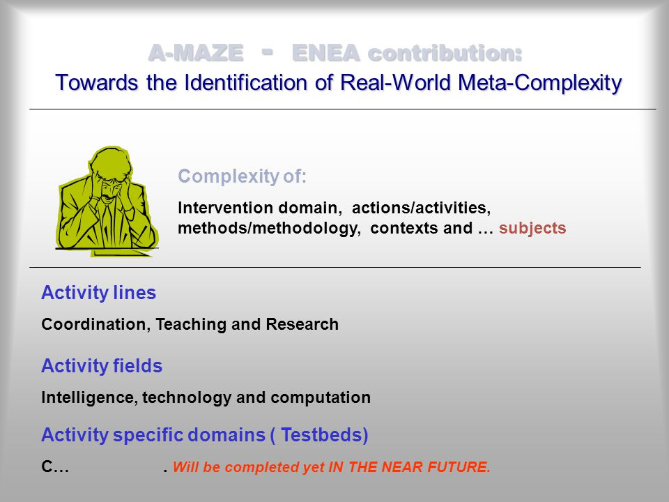 A-MAZE - ENEA contribution: Towards the Identification of Real-World Meta-Complexity Activity lines Coordination, Teaching and Research Complexity of: Intervention domain, actions/activities, methods/methodology, contexts and … subjects Activity fields Intelligence, technology and computation Activity specific domains ( Testbeds) C….