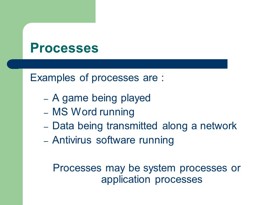 Processes Examples of processes are : – A game being played – MS Word running – Data being transmitted along a network – Antivirus software running Pr