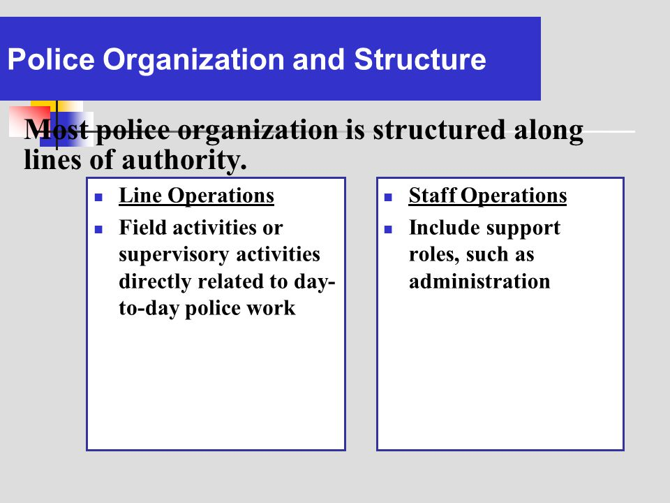 Police Organization and Structure Line Operations Field activities or supervisory activities directly related to day- to-day police work Staff Operati