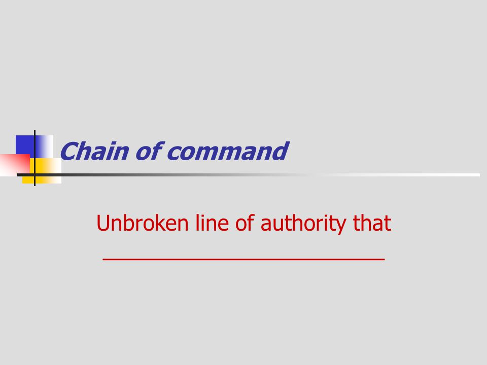 Chain of command Unbroken line of authority that ________________________