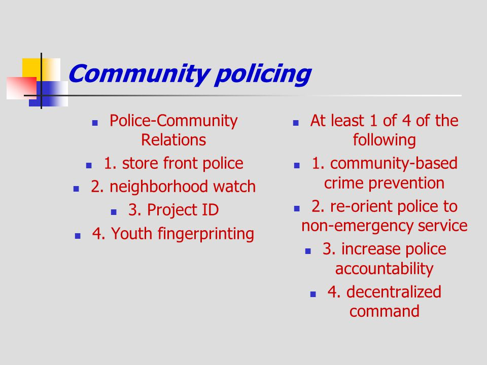 Community policing Police-Community Relations 1. store front police 2. neighborhood watch 3. Project ID 4. Youth fingerprinting At least 1 of 4 of the
