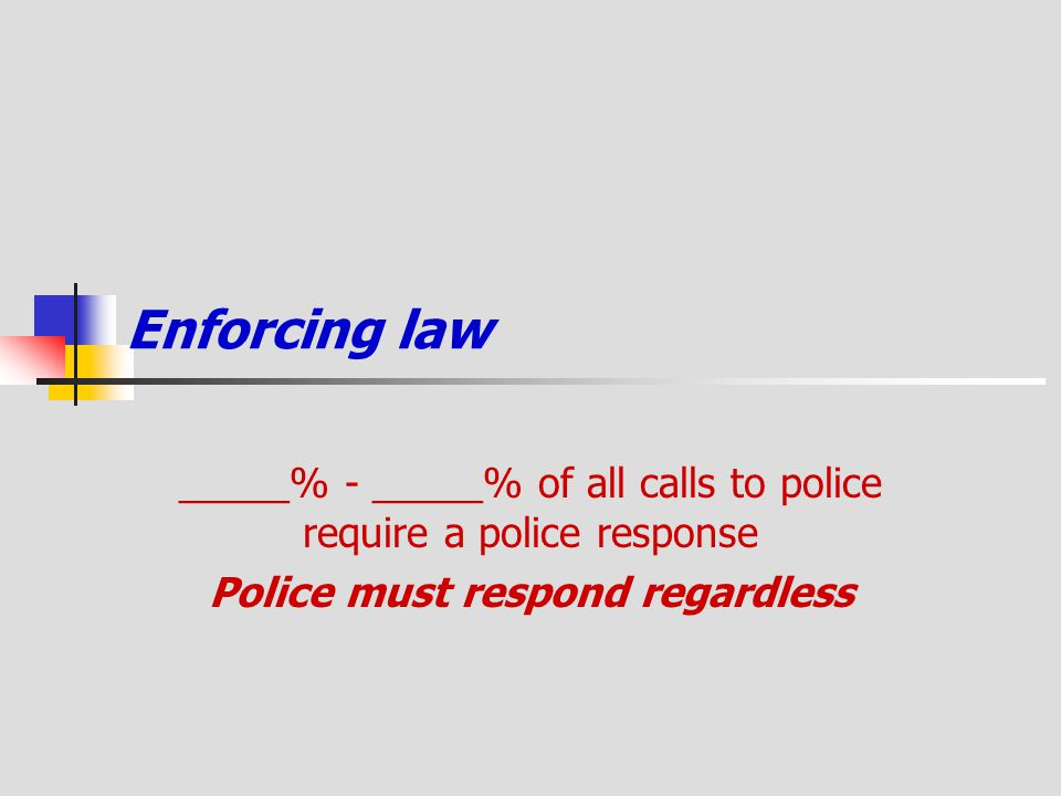 Enforcing law _____% - _____% of all calls to police require a police response Police must respond regardless