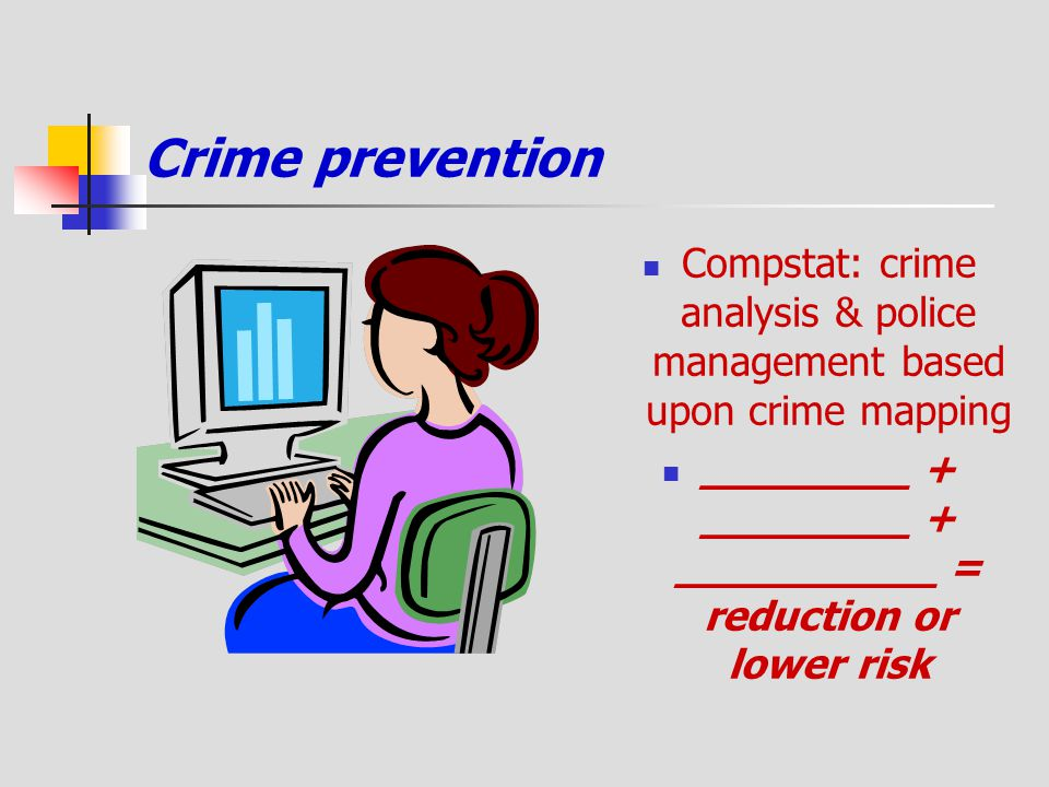 Crime prevention Compstat: crime analysis & police management based upon crime mapping ________ + ________ + __________ = reduction or lower risk