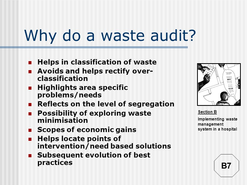 Section B Implementing waste management system in a hospital Why do a waste audit.