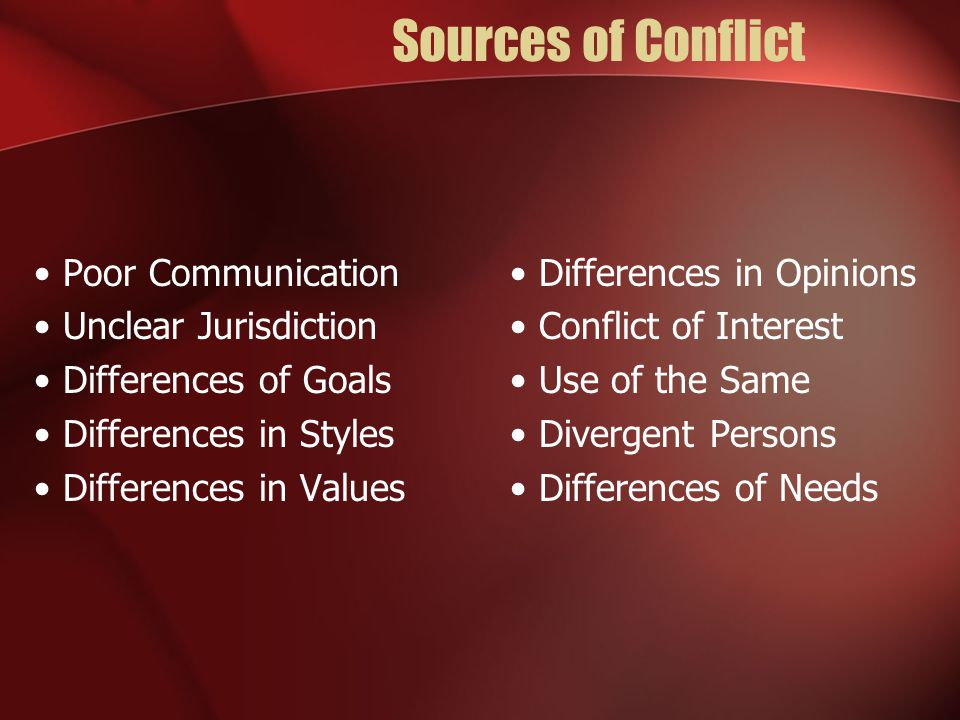Sources of Conflict Poor Communication Unclear Jurisdiction Differences of Goals Differences in Styles Differences in Values Differences in Opinions Conflict of Interest Use of the Same Divergent Persons Differences of Needs