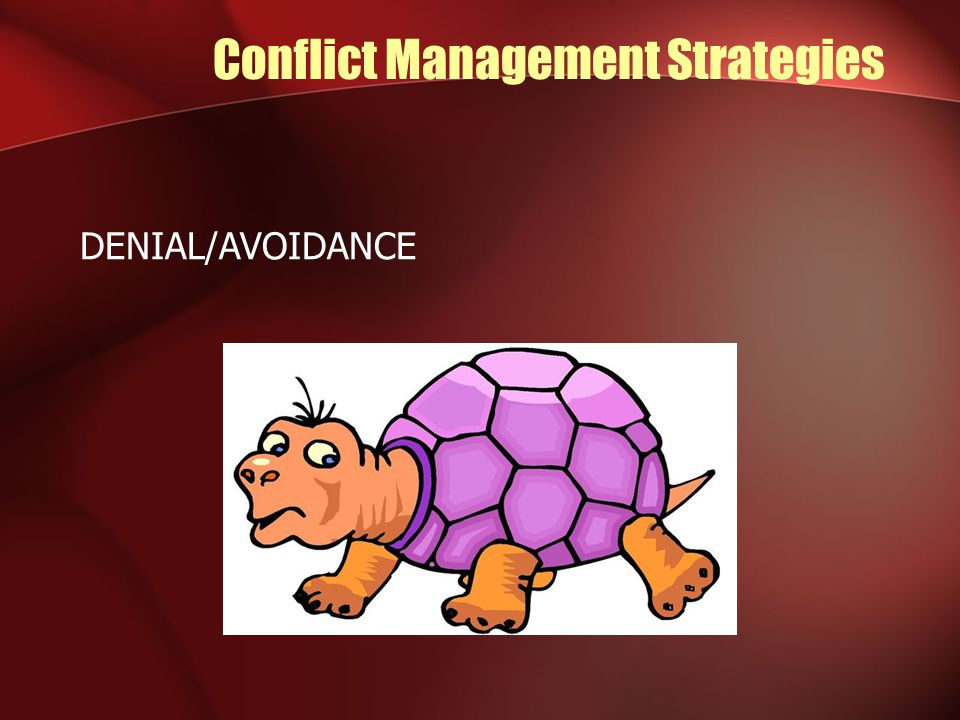 Conflict Management Strategies DENIAL/AVOIDANCE