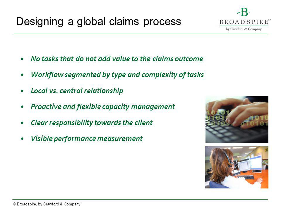 © Broadspire, by Crawford & Company Designing a global claims process No tasks that do not add value to the claims outcome Workflow segmented by type and complexity of tasks Local vs.