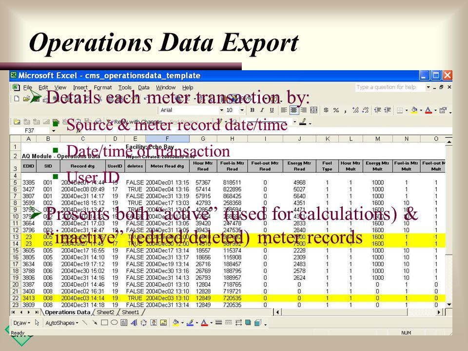 Operations Data Export Details each meter transaction by: Source & meter record date/time Date/time of transaction User ID Presents both active (used for calculations) & inactive (edited/deleted) meter records