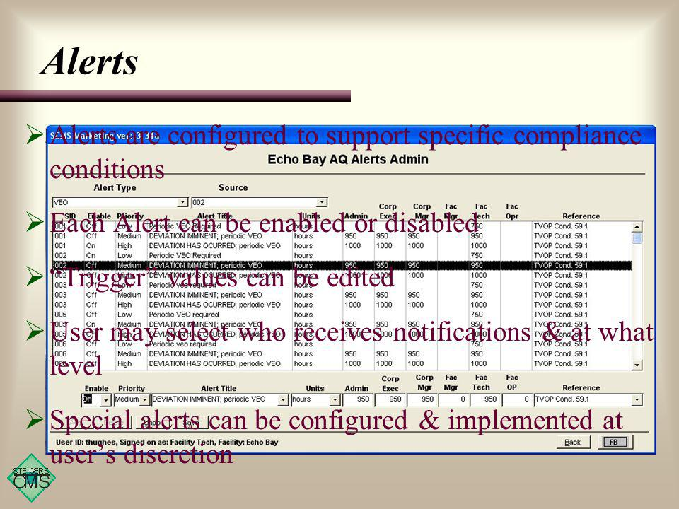 Alerts Alerts are configured to support specific compliance conditions Each Alert can be enabled or disabled Trigger values can be edited User may select who receives notifications & at what level Special alerts can be configured & implemented at users discretion