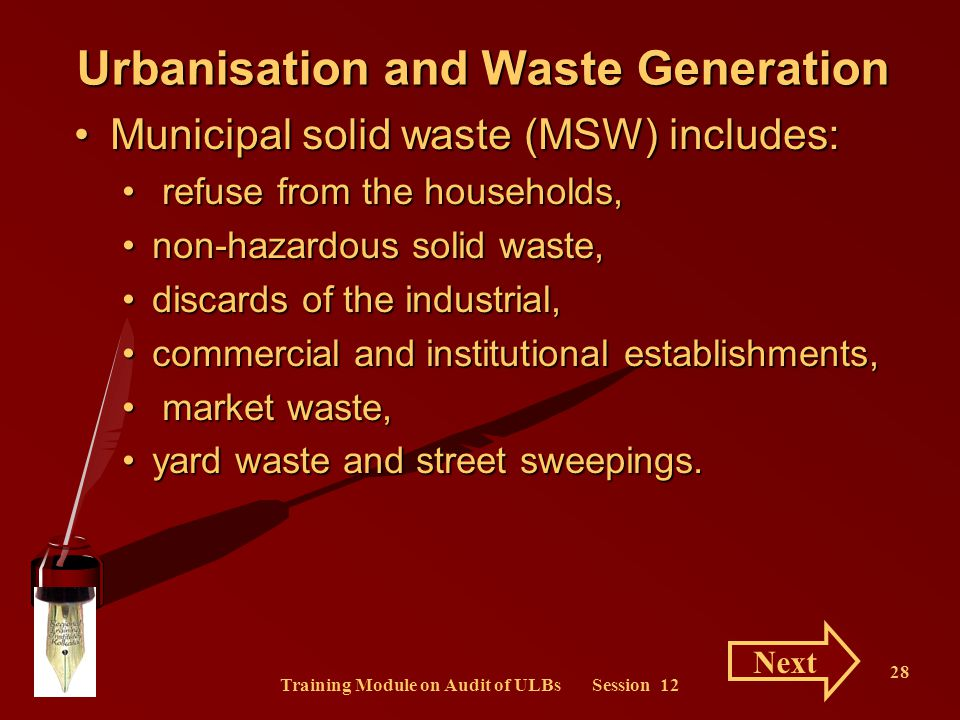 Training Module on Audit of ULBs Session 12 28 Urbanisation and Waste Generation Municipal solid waste (MSW) includes:Municipal solid waste (MSW) incl