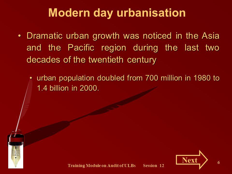 Training Module on Audit of ULBs Session 12 27 Urbanisation and Waste Generation Urbanization results in waste generation.Urbanization results in waste generation.