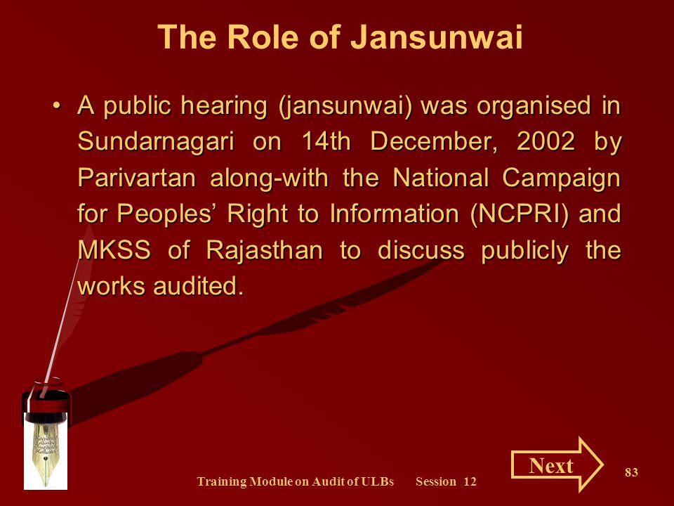 Training Module on Audit of ULBs Session 12 83 The Role of Jansunwai A public hearing (jansunwai) was organised in Sundarnagari on 14th December, 2002