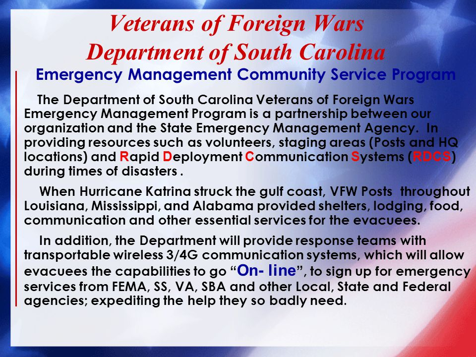 9 Districts within the State VFW Posts in all 46 counties.