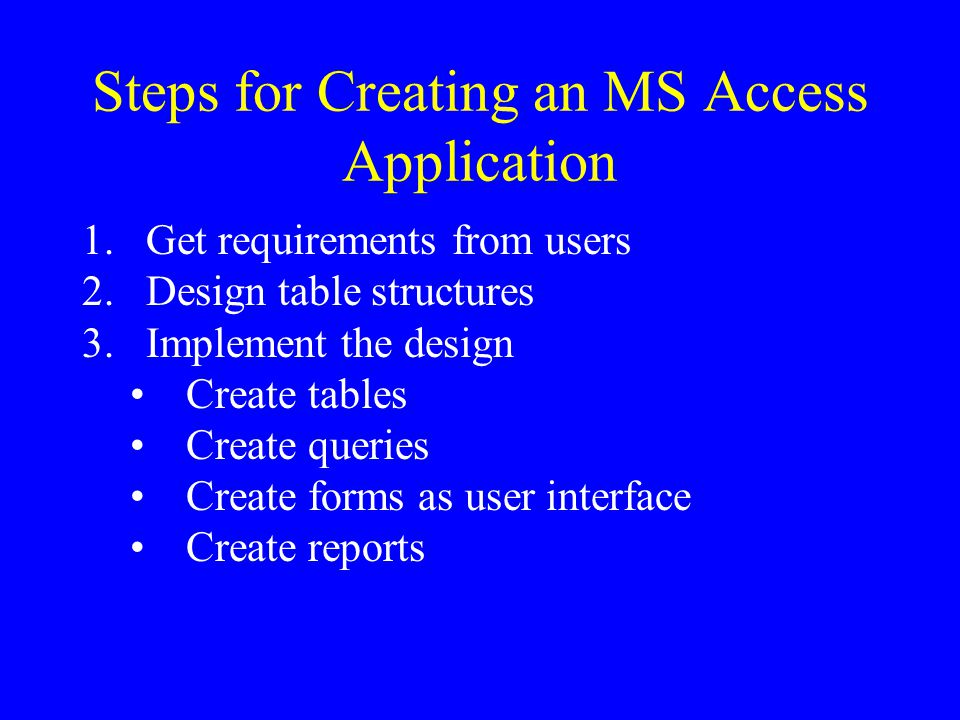 Steps for Creating an MS Access Application 1.Get requirements from users 2.Design table structures 3.Implement the design Create tables Create queries Create forms as user interface Create reports