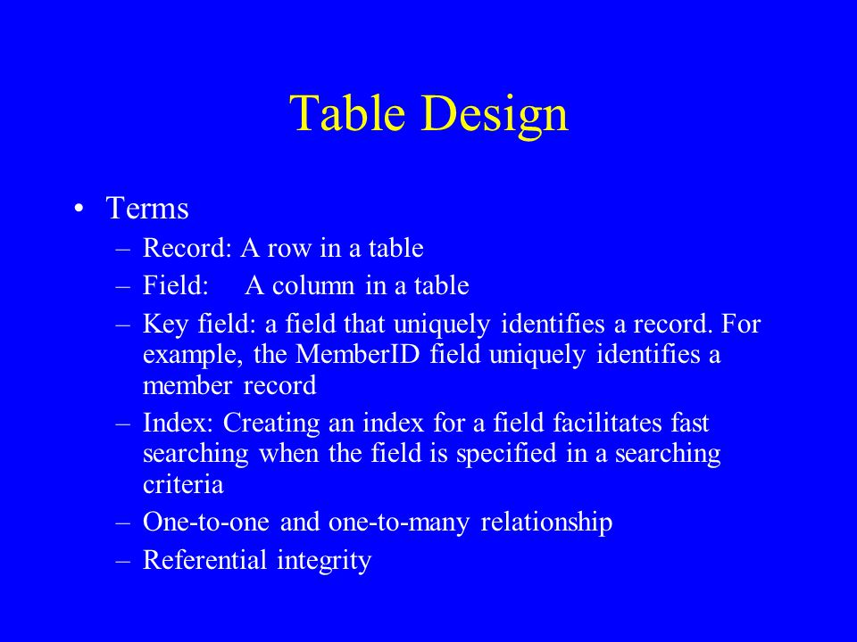 Table Design Terms –Record: A row in a table –Field:A column in a table –Key field: a field that uniquely identifies a record.