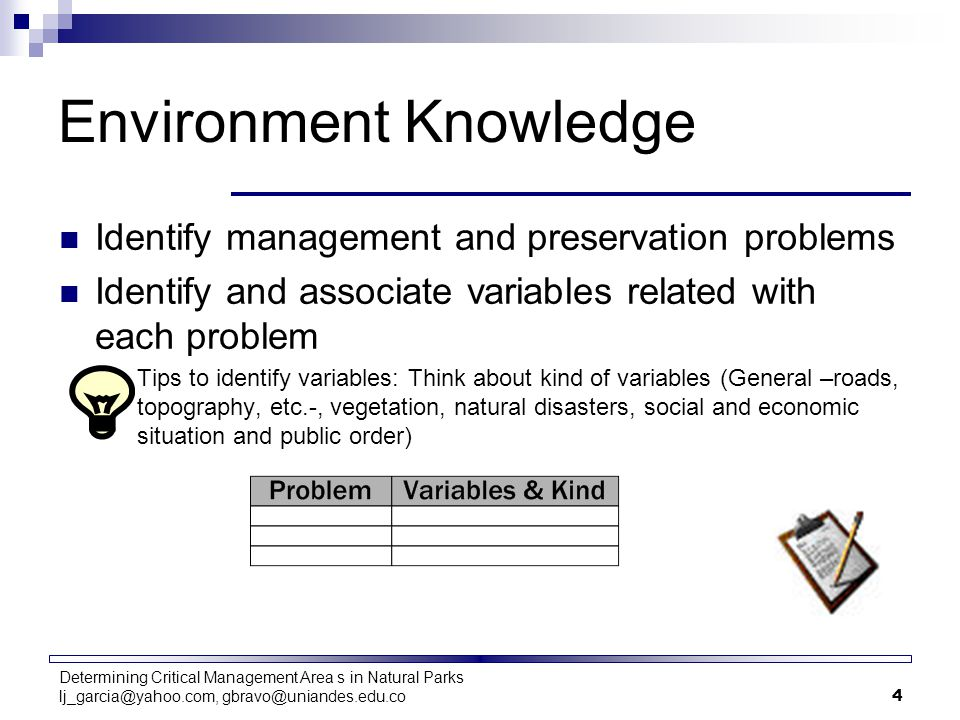 Determining Critical Management Area s in Natural Parks lj_garcia@yahoo.com, gbravo@uniandes.edu.co4 Environment Knowledge Identify management and pre