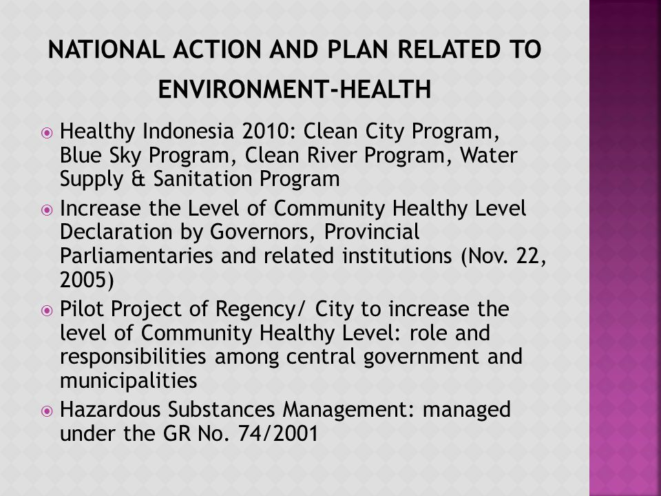 Healthy Indonesia 2010: Clean City Program, Blue Sky Program, Clean River Program, Water Supply & Sanitation Program Increase the Level of Community Healthy Level Declaration by Governors, Provincial Parliamentaries and related institutions (Nov.