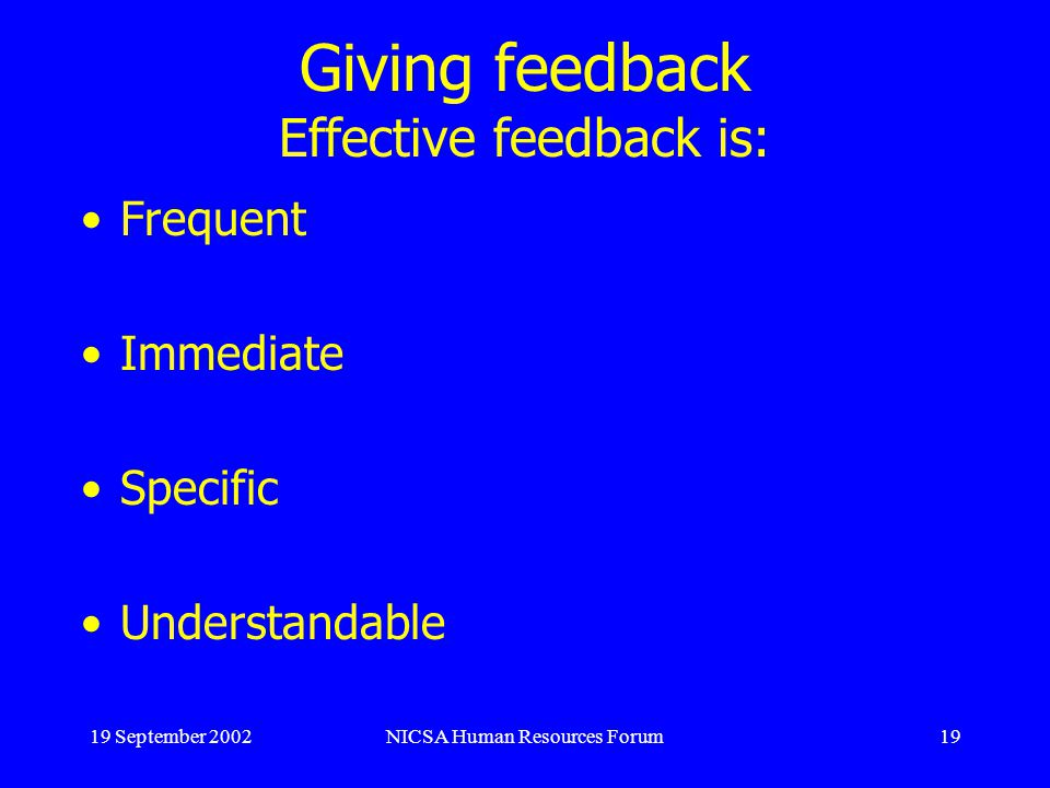 19 September 2002NICSA Human Resources Forum19 Giving feedback Effective feedback is: Frequent Immediate Specific Understandable