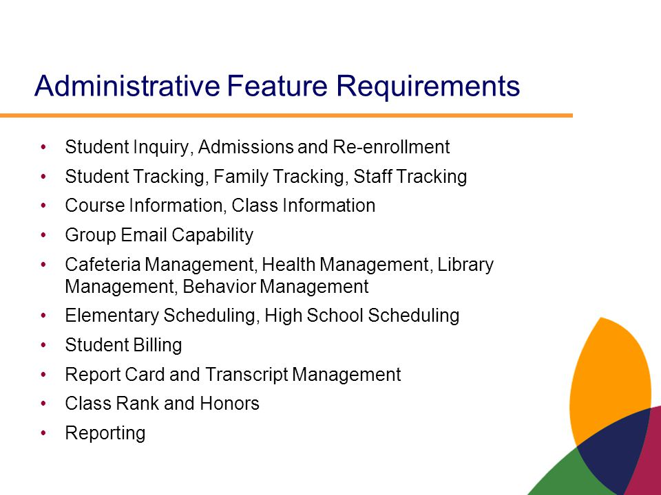 Administrative Feature Requirements Student Inquiry, Admissions and Re-enrollment Student Tracking, Family Tracking, Staff Tracking Course Information