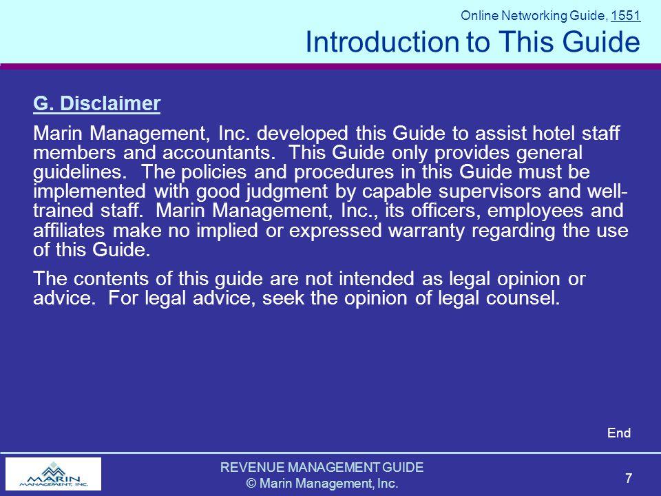 REVENUE MANAGEMENT GUIDE © Marin Management, Inc. 7 G.