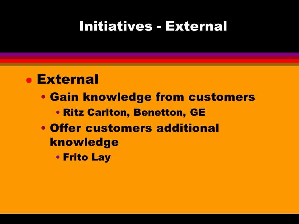 Initiatives - External l External Gain knowledge from customers Ritz Carlton, Benetton, GE Offer customers additional knowledge Frito Lay