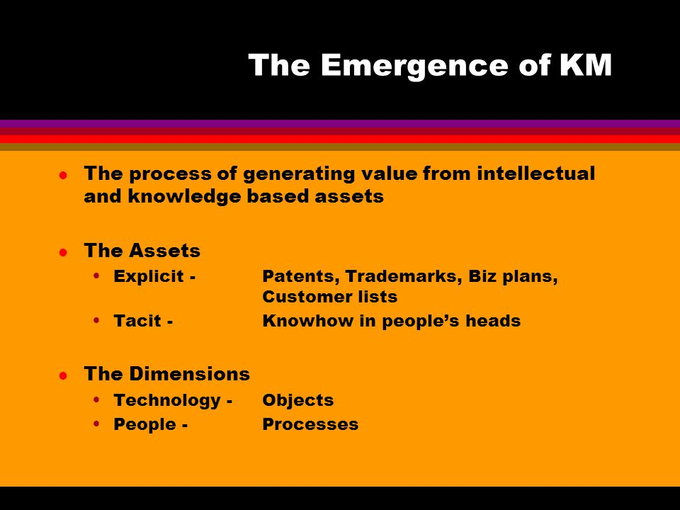 The Emergence of KM l The process of generating value from intellectual and knowledge based assets l The Assets Explicit -Patents, Trademarks, Biz pla