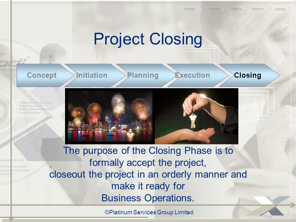 ©Platinum Services Group Limited Progress Status Abstract