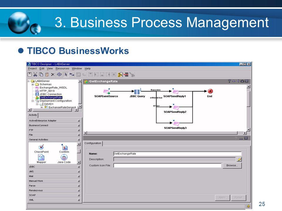 25 3. Business Process Management TIBCO BusinessWorks