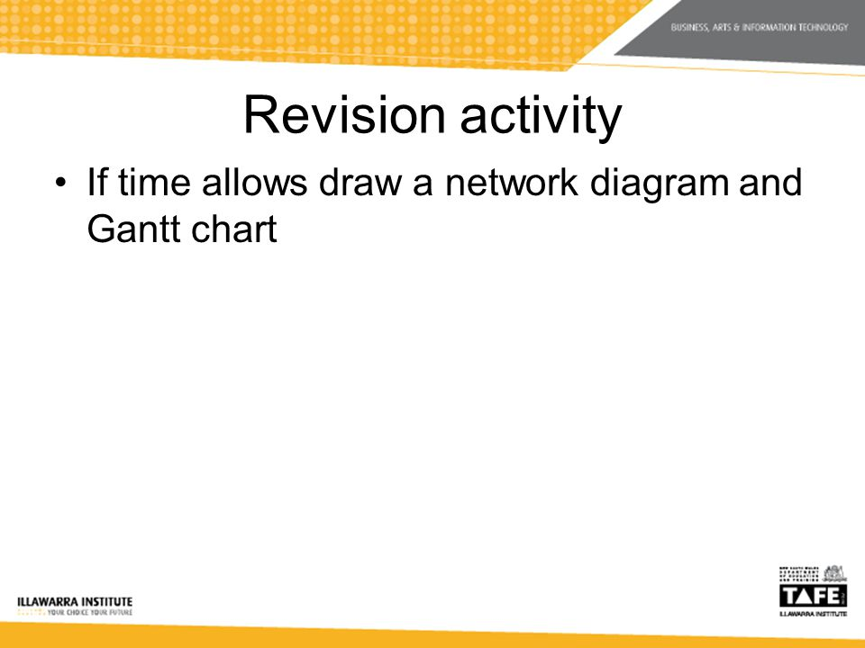 Revision activity If time allows draw a network diagram and Gantt chart