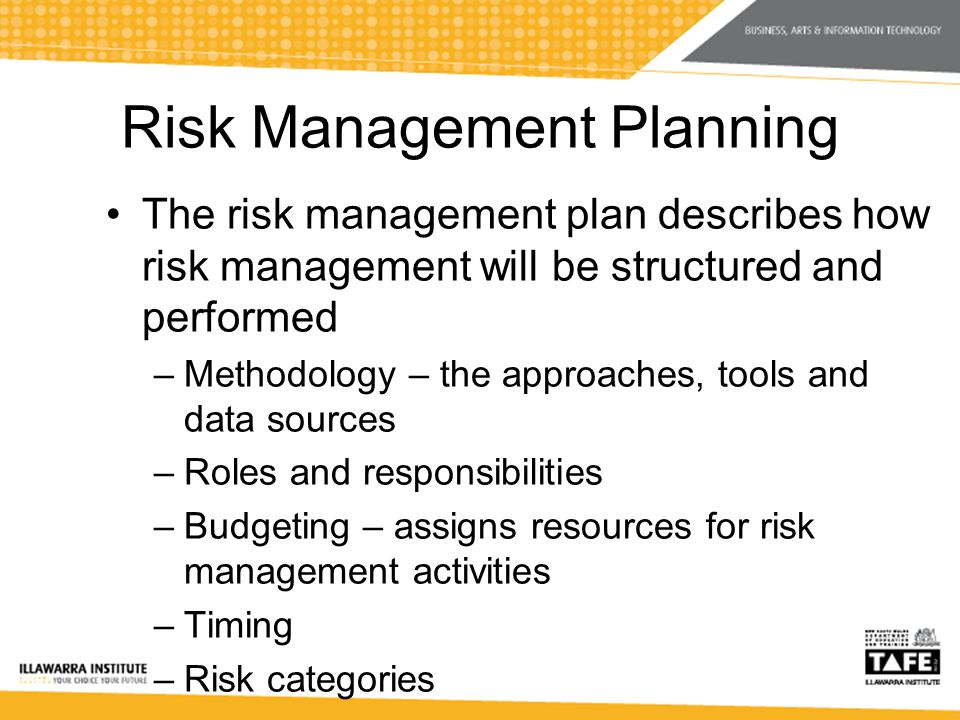 Risk Management Planning The risk management plan describes how risk management will be structured and performed –Methodology – the approaches, tools and data sources –Roles and responsibilities –Budgeting – assigns resources for risk management activities –Timing –Risk categories